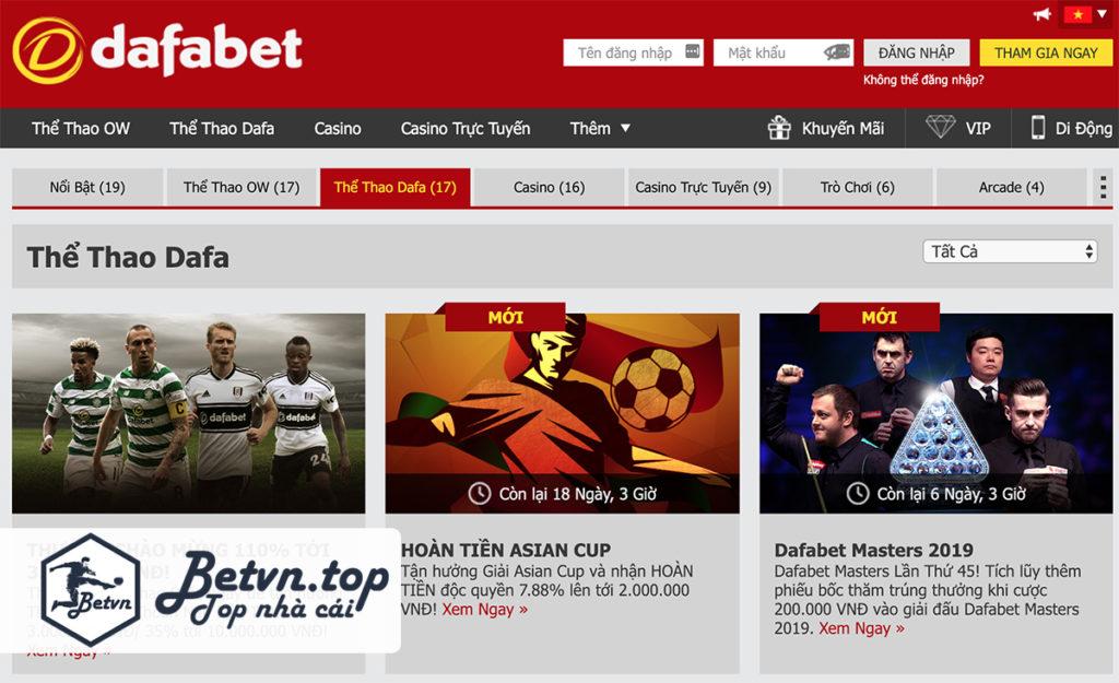 Khuyến mãi Cá độ bóng đá online trên mạng Dafabet