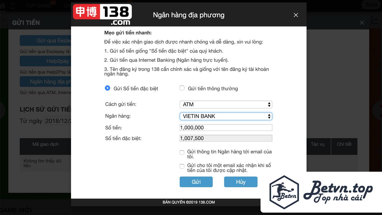 Chuyển khoản ngân hàng Cá độ bóng đá qua mạng 138