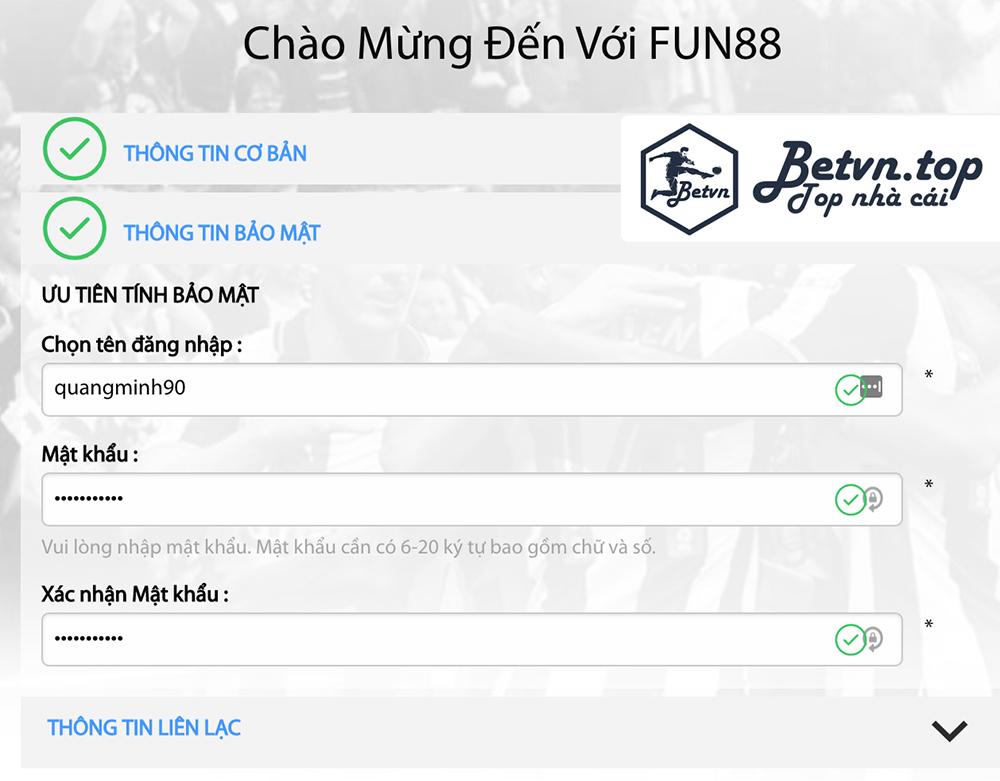 Đăng ký thông tin bảo mật Cá cược bóng đá uy tính tại Fun88