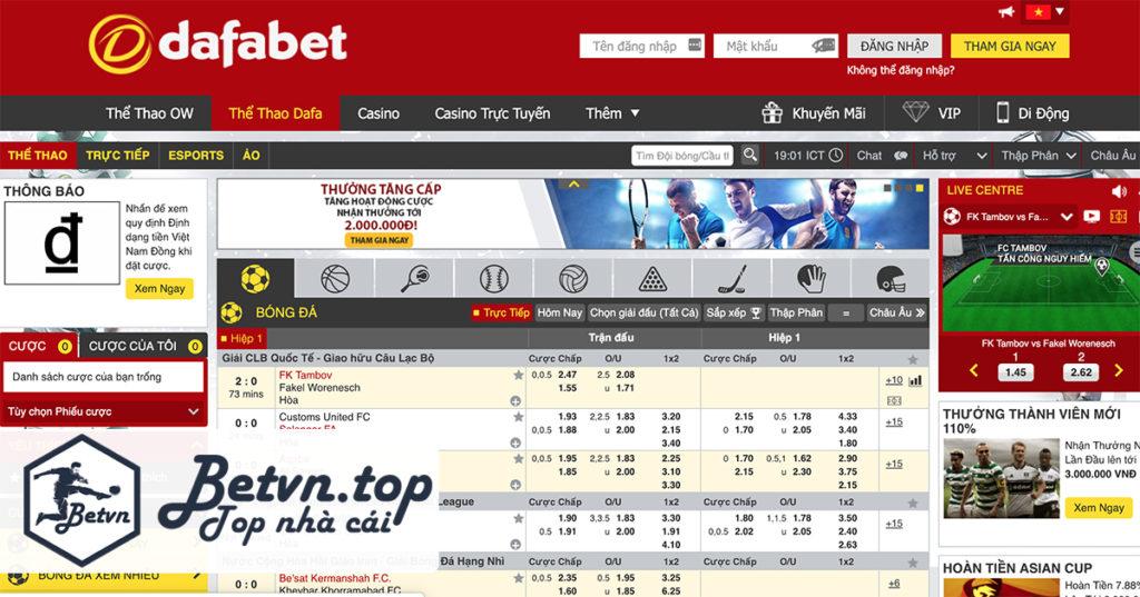 Giao diện Cá độ bóng đá online trên mạng Dafabet