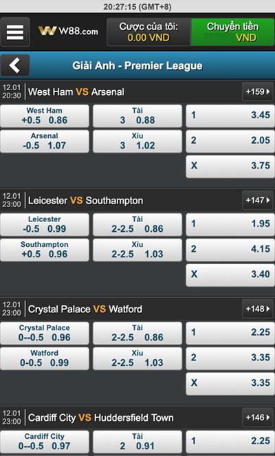 Giao diện cược Cá độ bóng đá qua mạng W88