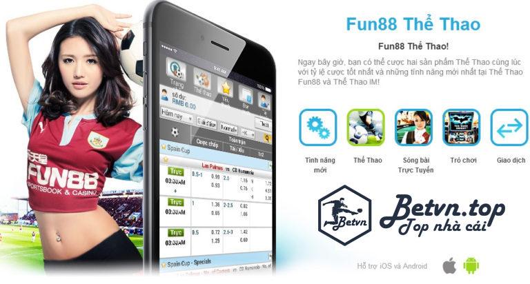 Giao diện cược trên điện thoại Cá cược bóng đá uy tính tại Fun88