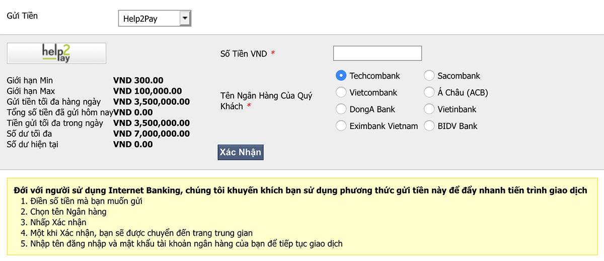 Gửi tiền bằng Help Pay Cá độ bóng đá trực tuyến M88