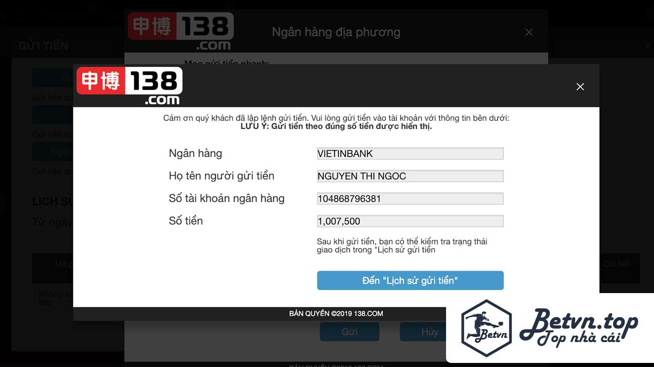Số tài khoản Cá độ bóng đá qua mạng 138