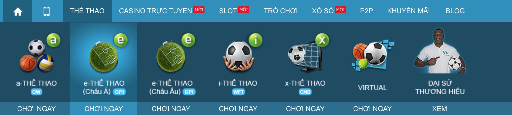 Lựa chọn các thể loại cược thể thao tại W88
