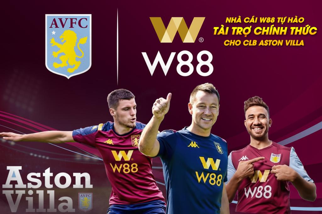 W88 là nhà tài trợ đội bóng Aston Villa đang thi đấu tại Ngoại hạng Anh