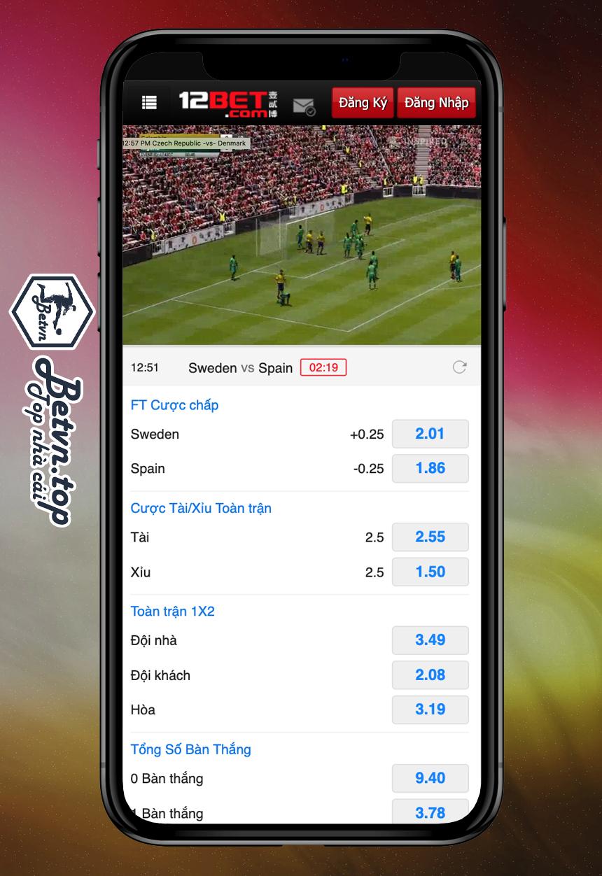 giao diện đặt cược bóng đá ảo 12bet