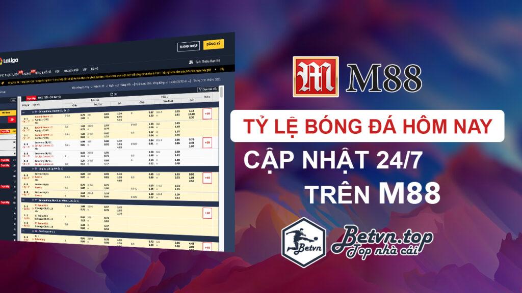 tỷ lệ bóng đá M88