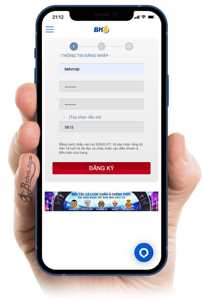 giao diện đăng ký tài khoản bk8