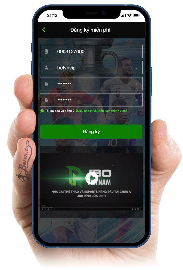đăng ký tài khoản JBO