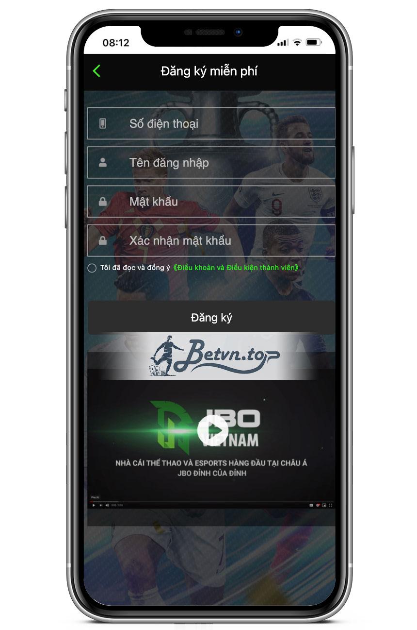 giao diện đăng ký tài khoản JBO